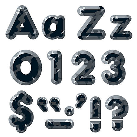 """TREND Ready Letters®, Casual Combo, 4"""", Black Gems, Pre-K - Grade 12, Pack Of 181"""