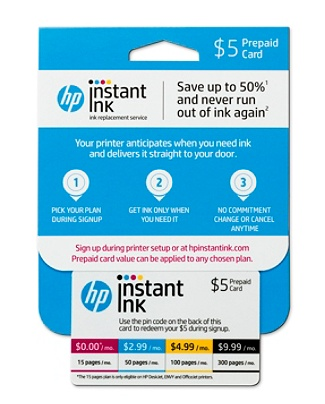 hp instant ink 5 prepaid card four monthly plans 1550100300 pages available online by office depot officemax - Prepaid Cards Near Me
