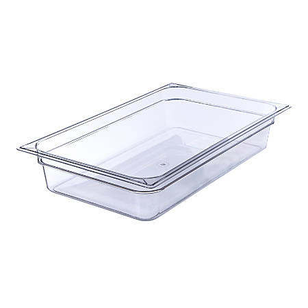 """StorPlus Full-Size Plastic Food Pans, 4""""H x 12 3/4""""W x 20 3/4""""D, Clear, Pack Of 6"""