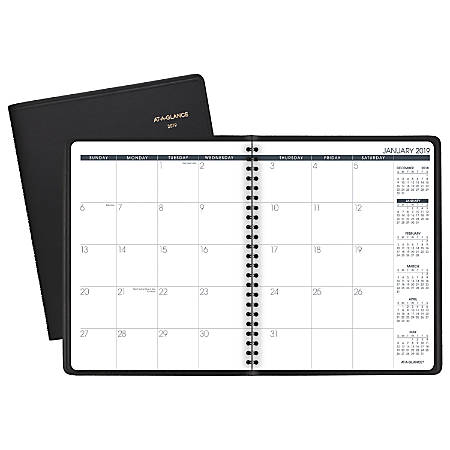 """AT-A-GLANCE® Monthly Planner, 6 7/8"""" x 8 3/4"""", Black, January To December 2019"""