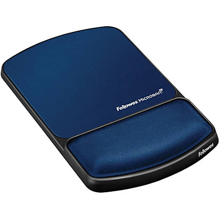 """Fellowes Mouse Pad / Wrist Support with Microban® Protection - 0.9"""" x 6.8"""" x 10.1"""" Dimension - Sapphire - Gel, Polyester, Lycra Cover - Wear Resistant, Tear Resistant"""