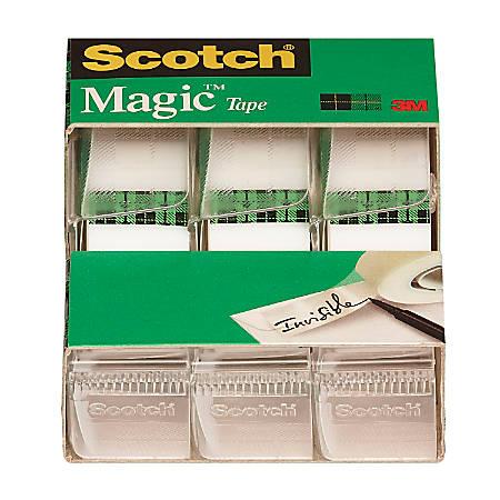 """Scotch® Magic™ Tape In Dispensers, 0.75"""" x 300"""", Clear, Pack Of 3 Rolls"""