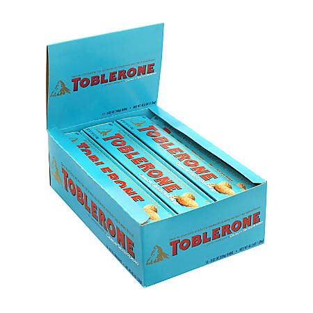 Toblerone Milk Chocolate And Crunchy Salted Almond Bars, 3.52 Oz, Box Of 12 Bars