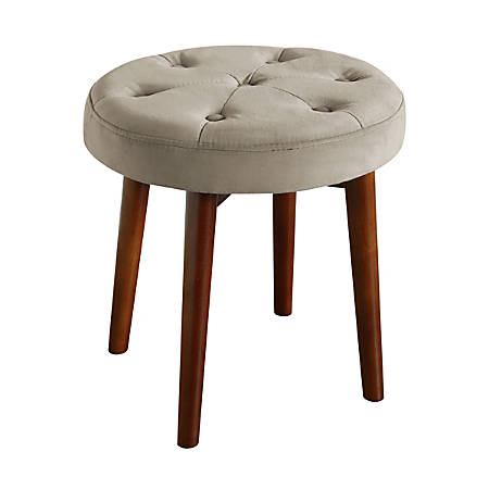 Elle Décor Penelope Round Tufted Stool, Warm Taupe/Brown