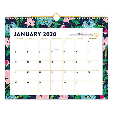 "Emily Ley Simplified® Monthly Wall Calendar, 15"" x 12"", Navy Floral, January To December 2020, EL301-707"