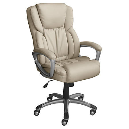 Serta Works Bonded Leather High-Back Office Chair, American Beige/Silver