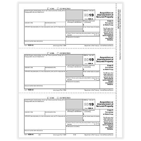 """ComplyRight™ 1099-A Tax Forms, Laser Cut, Copy C, 8-1/2"""" x 11"""", Pack Of 50 Forms"""