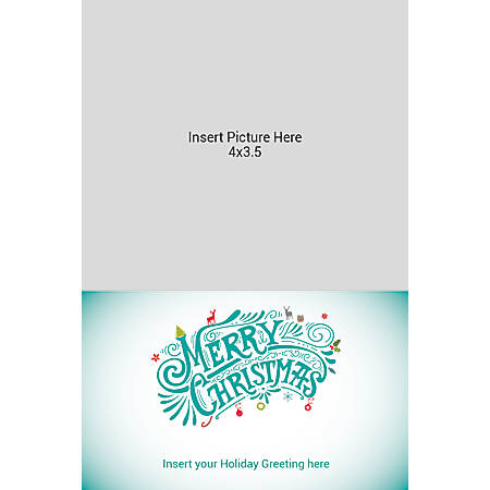 Flat Photo Greeting Card, Multi Merry Christmas, Vertical