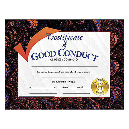 "Hayes Certificates Of Good Conduct, 8 1/2"" x 11"", Multicolor, 30 Certificates Per Pack, Bundle Of 6 Packs"