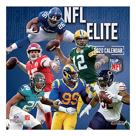 "Turner Licensing Monthly Wall Calendar, 12"" x 12"", NFL Elite, 2020"
