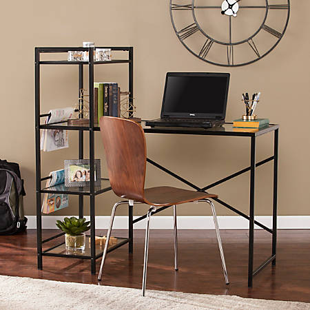 Southern Enterprises Dillon Metal Glass Writing Desk, Black