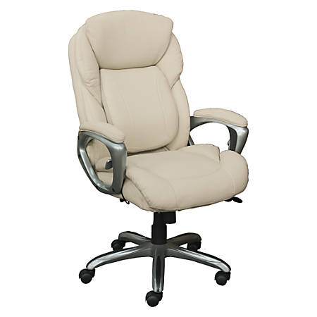 Serta Works My Fit Bonded Leather High-Back Office Chair, With Tailored Reach, Inspired Ivory/Silver
