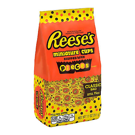 Reese's Peanut Butter Cup Miniatures With Mini Pieces, 11 Oz, Pack Of 3 Bags