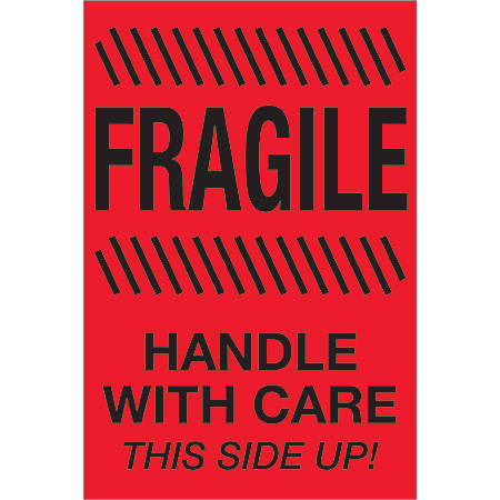 "Tape Logic® Preprinted Special Handling Labels, DL1187, Fragile Handle With Care This Side Up, Rectangle, 4"" x 6"", Fluorescent Red, Roll Of 500"