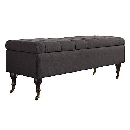Elle Collete Tufted Bench With Storage, French Dark Gray/Brown