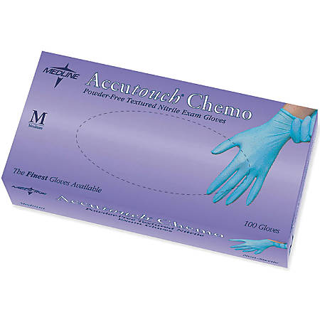 Accutouch Chemo Disposable Powder-Free Nitrile Exam Gloves, Medium, Blue, 100 Gloves Per Box, Case Of 10 Boxes
