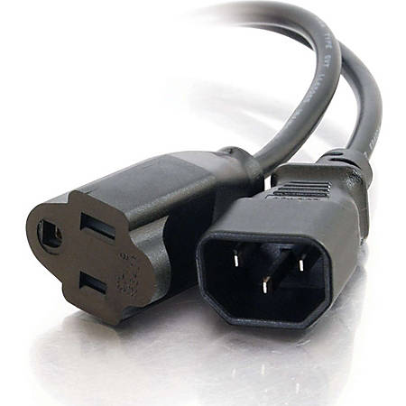 C2G Adapter Cord - For Monitor, Scanner, Printer - 125 V AC / 10 A - Black - TAA Compliant