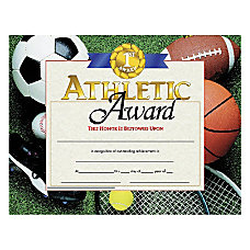Hayes Athletic Award Certificates 8 12