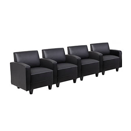 Boss 4-Seat Sectional Seating With Arms, Black