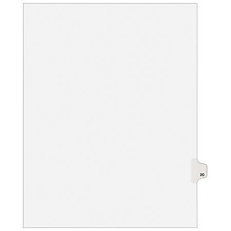 """Avery® Avery-Style 20% Recycled Collated Legal Index Exhibit Dividers, 8 1/2"""" x 11"""", White Dividers/White Tabs, 20, Pack Of 25"""