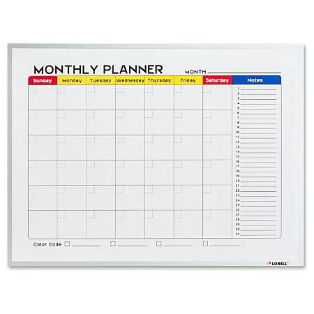 "Lorell Dry-Erase Magnetic Planner Board - 24"" (2 ft) Width x 18"" (1.5 ft) Height - Aluminum Steel Surface - Aluminum Melamine Frame - Rectangle - 1 Each"