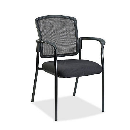 Lorell® Mesh/Fabric Guest Stack Chair, Black