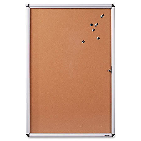 """Lorell Enclosed Cork Bulletin Boards - 36"""" Height x 24"""" Width - Natural Cork Surface - Lock, Resilient, Durable, Self-healing - Aluminum Frame - 1 Each"""