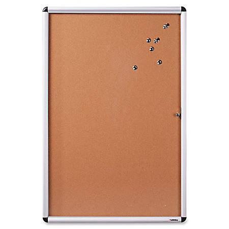 "Lorell Enclosed Cork Bulletin Boards - 48"" Height x 36"" Width - Natural Cork Surface - Durable, Resilient, Self-healing - Aluminum Aluminum Frame - 1 Each"