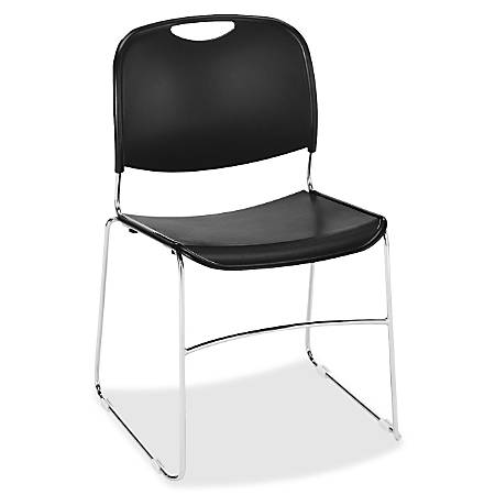Lorell® Lumbar Support Stacking Chairs, Black/Chrome, Set Of 4 Chairs