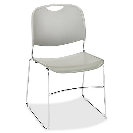 Lorell® Plastic Stacking Chair, Gray, Set Of 4