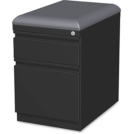 "Lorell® 19 7/8""D 2-Drawer Mobile Letter-Size Pedestal File Cabinet With Seat Cushion, Black"