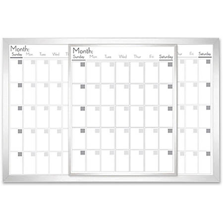 "Lorell® Magnetic Dry-Erase Calendar Board, 36"" x 24"", Frost"