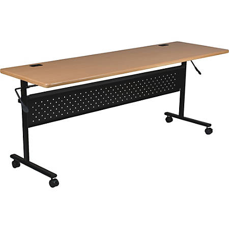 "Lorell® Shift Series Mobile Flipper Training Table, 72""W, Teak"