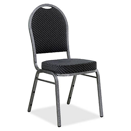 Lorell® Banquet Stack Chairs, Textured Fabric, Black/Gray, Set Of 4