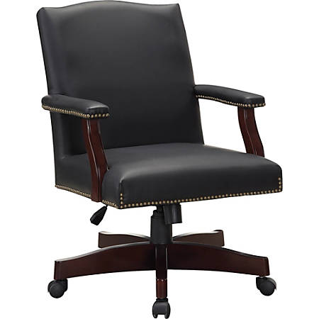 Lorell® Berkeley Traditional Bonded Leather Executive Chair, Black