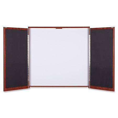 "Lorell Presentation Cabinet - 47.3"" x 4.8"" x 47.3"" - Drywipe Whiteboard, Hinged Door - Cherry - Melamine, Laminate"