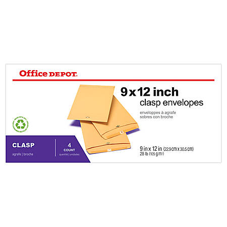 "Office Depot® Brand Clasp Envelopes, 9"" x 12"", Brown, Pack Of 4"