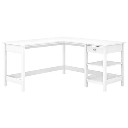 "Bush Furniture Broadview 60""W L-Shaped Computer Desk With Storage, Pure White, Standard Delivery"