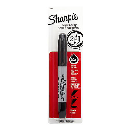 Sharpie® Twin-Tip Permanent Marker, Bold/Chisel Points, Black