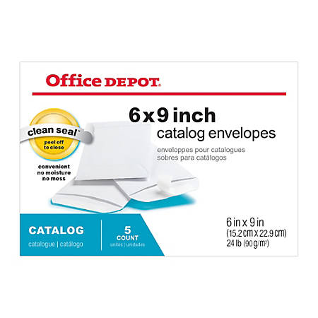 "Office Depot® Brand Clean Seal™ Catalog Envelopes, 6"" x 9"", White, Pack Of 5"