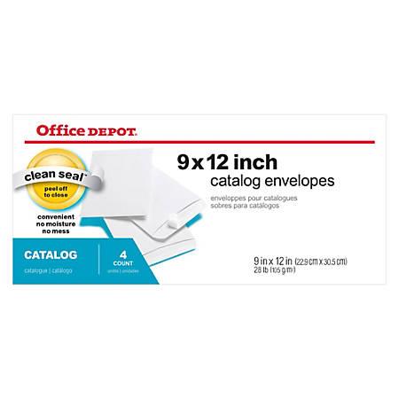 "Office Depot® Brand Clean Seal™ Catalog Envelopes, 9"" x 12"", White, Pack Of 4"