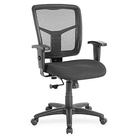 Lorell® Ergonomic Mesh/Fabric Mid-Back Chair, Swivel Tilt, Black