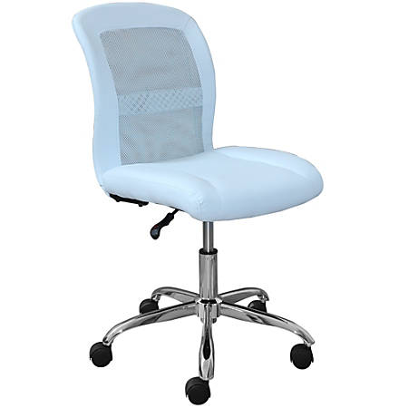 Serta Essentials Faux Leather Mid-Back Computer Chair, Blue Sky/Chrome