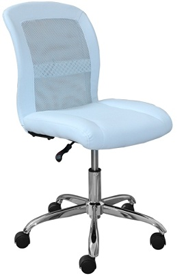 Serta Essentials Faux Leather Mid Back Computer Chair Blue Skychrome By Office Depot Officemax