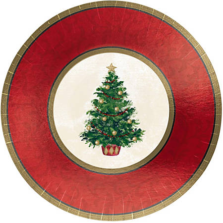 """Amscan Classic Christmas Tree Paper Plates, 7"""", 8 Plates Per Pack, Set Of 5 Packs"""