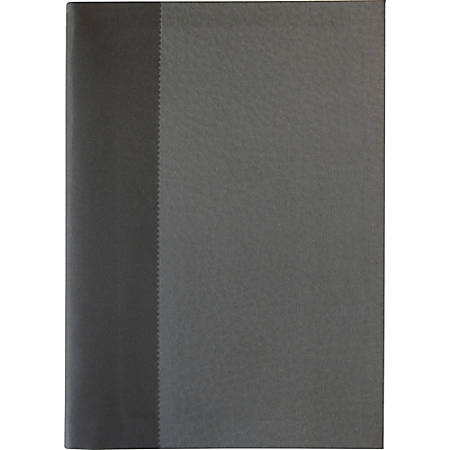 "Sparco Flexiback Notebook - A5 - Plain - 8 17/64"" x 5 27/32"" - 8.5"" x 6"" - Cream Paper - Black, Gray Cover - Ribbon Marker - 1Each"