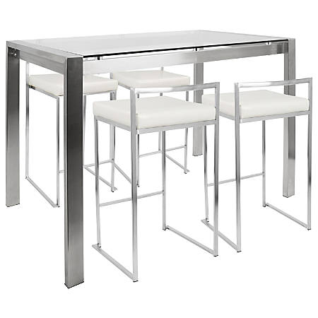 Lumisource Fuji Counter-Height Table With 4 Stools, White/Stainless Steel