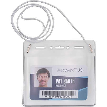 Advantus Horizontal ID Card Holder with Neck Cord - Horizontal - Vinyl - 25 / Pack - White, Clear