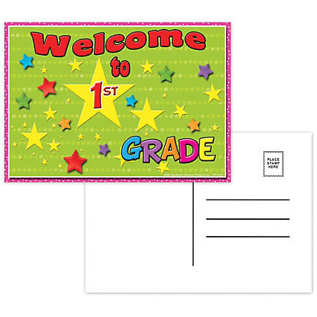 "Top Notch Teacher Products Welcome To 1st Grade Postcards, 4 1/2"" x 6"", Multicolor, 30 Postcards Per Pack, Bundle Of 12 Packs"
