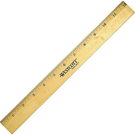 "Westcott® Wood Ruler, Single Edge, 12"""